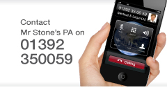 Contact Mr Christopher Stone's PA for cosmetic surgery or medico-legal services